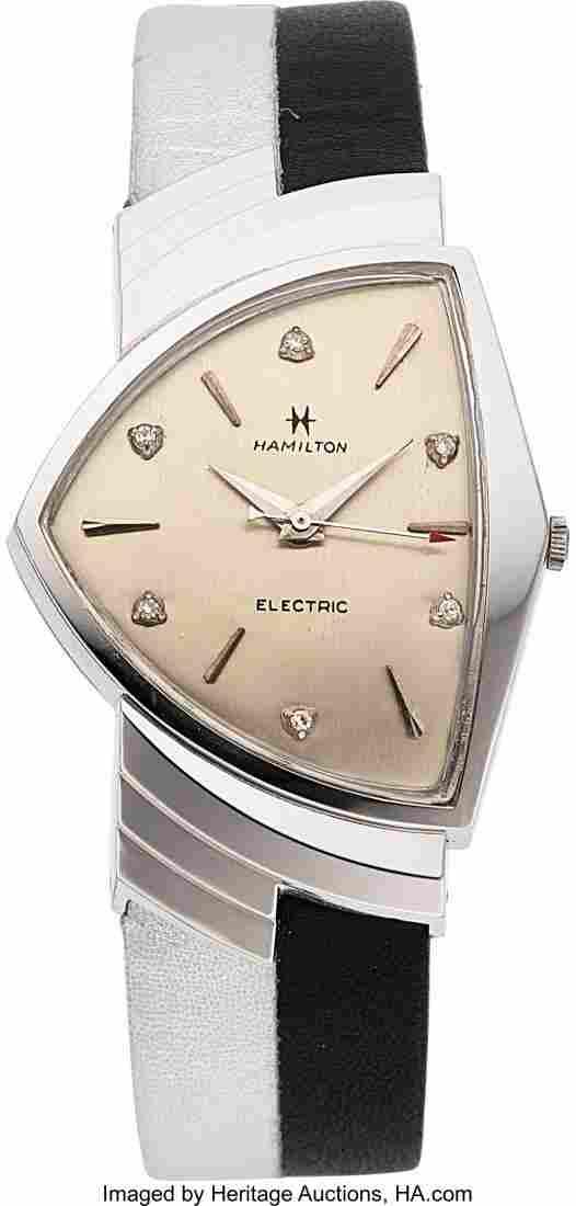 54018: Hamilton Rare & Very Fine 14k White Gold Diamond