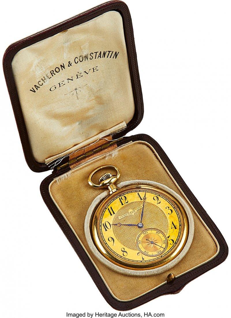 54334: Vacheron & Constantin 18k Gold Pocket Watch, Ori - 4