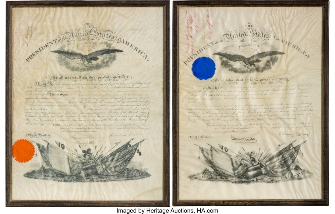 """47108: Abraham Lincoln Military Appointment Signed  """"Ab"""