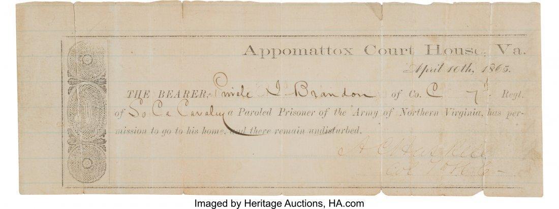 47026: Appomattox Parole Issued to Private John Brandon