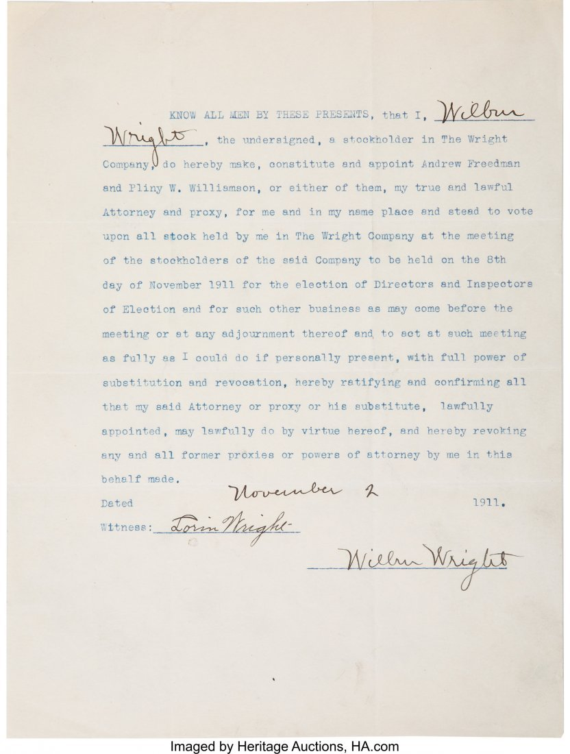 47182: Wilbur and Orville Wright Signed Contracts Toget - 2