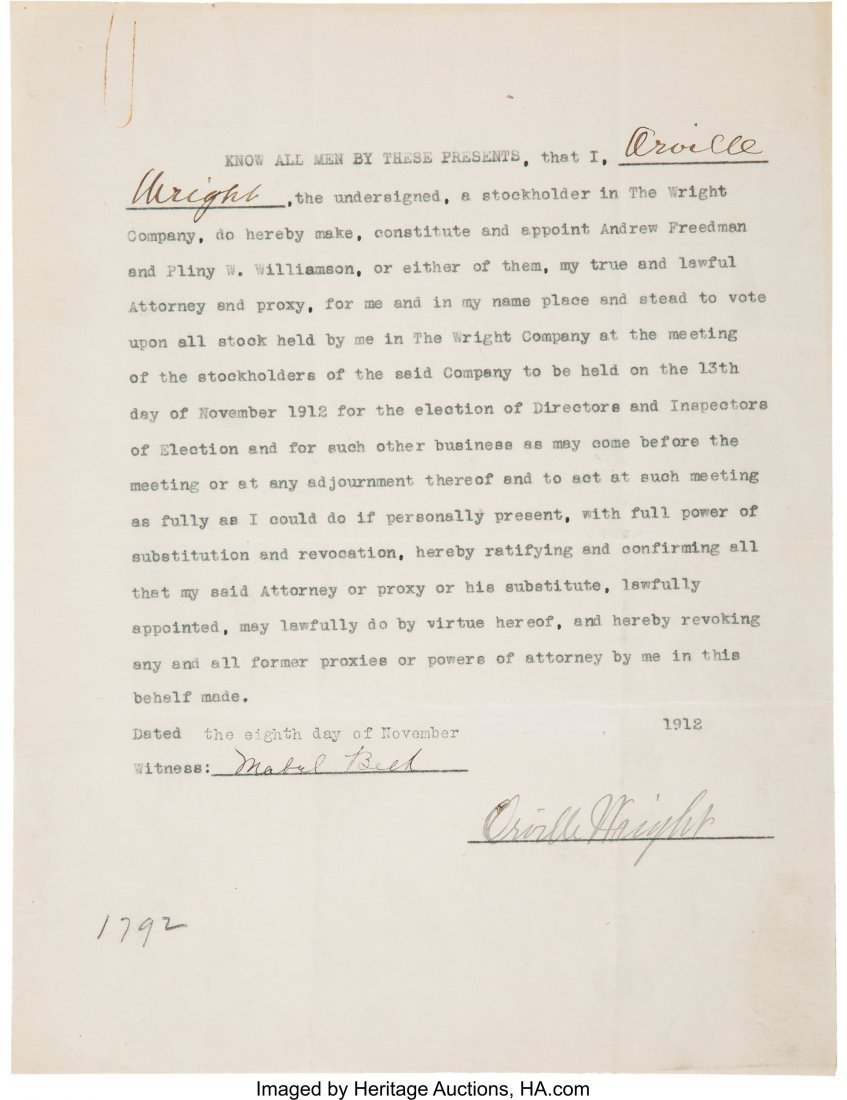 47182: Wilbur and Orville Wright Signed Contracts Toget - 3