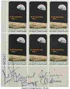 """52541: Apollo 11 Crew-Signed """"Apollo 8"""" Plate Block of"""