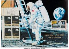 52563 Neil Armstrong Signed Apollo 8 Stamp Plate Blo