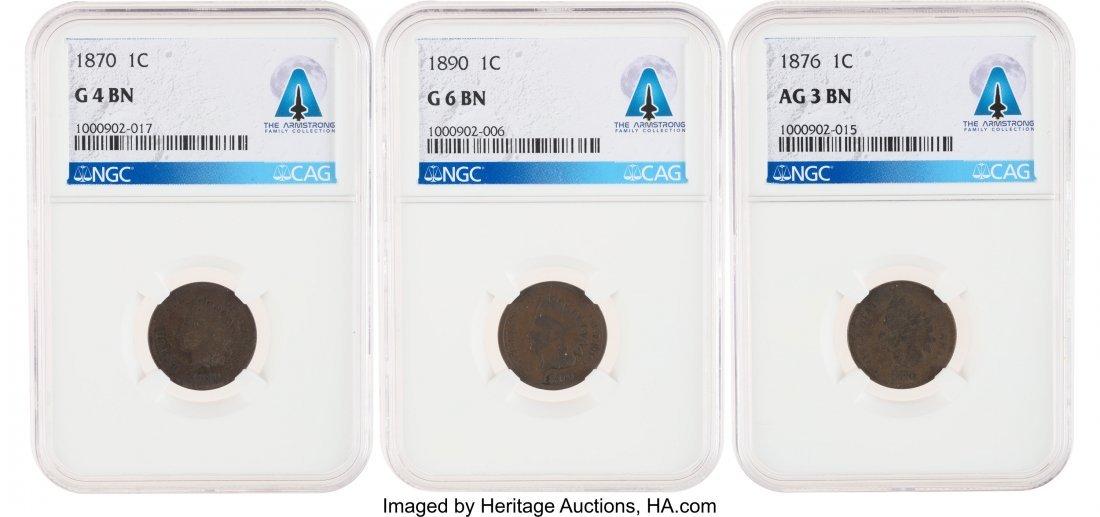 52883: Indian Cent Group: 1870 G4 BN NGC; 1876 AG3 BN N