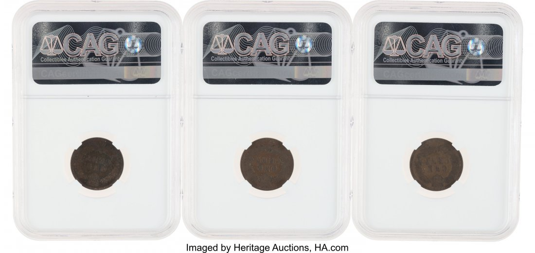 52883: Indian Cent Group: 1870 G4 BN NGC; 1876 AG3 BN N - 2