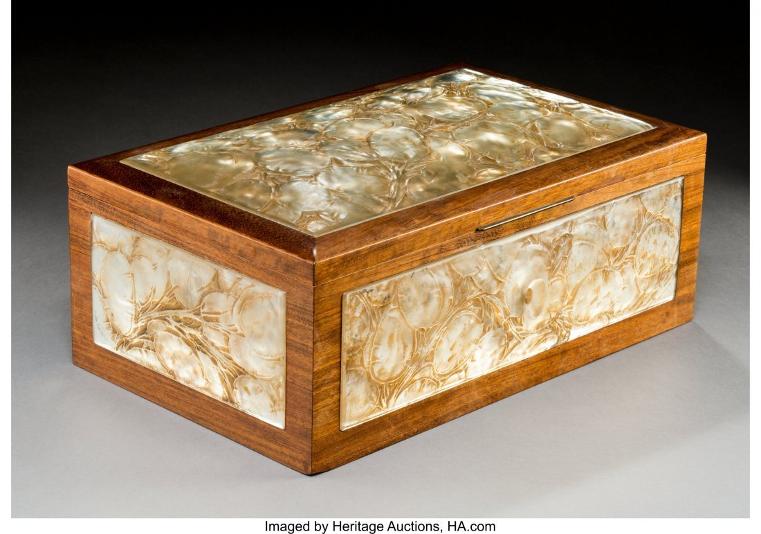 79242: R. Lalique Frosted Glass and Mahogany Monnaie du