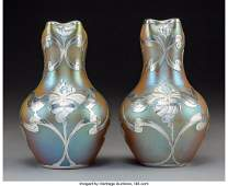 79259: Pair of Loetz-Style Gold Iridescent Glass Vases