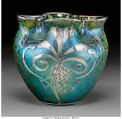 79262: Loetz Iridescent Glass Vase with Silver Overlay