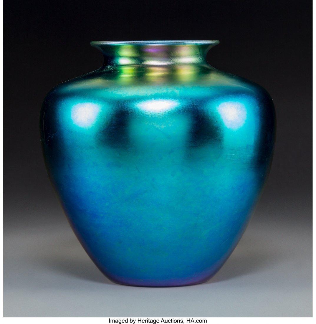 79051: Steuben Blue Aurene Glass Vase Circa 1915. Engra