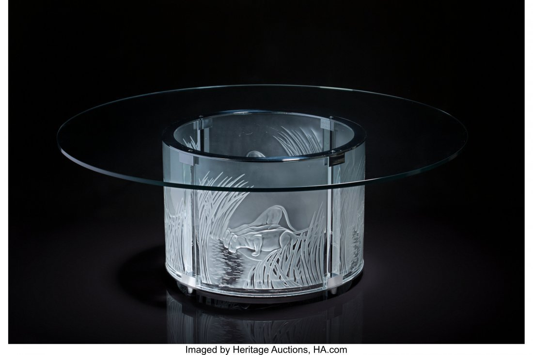 79203: Lalique Clear and Frosted Glass Trois Lionesses