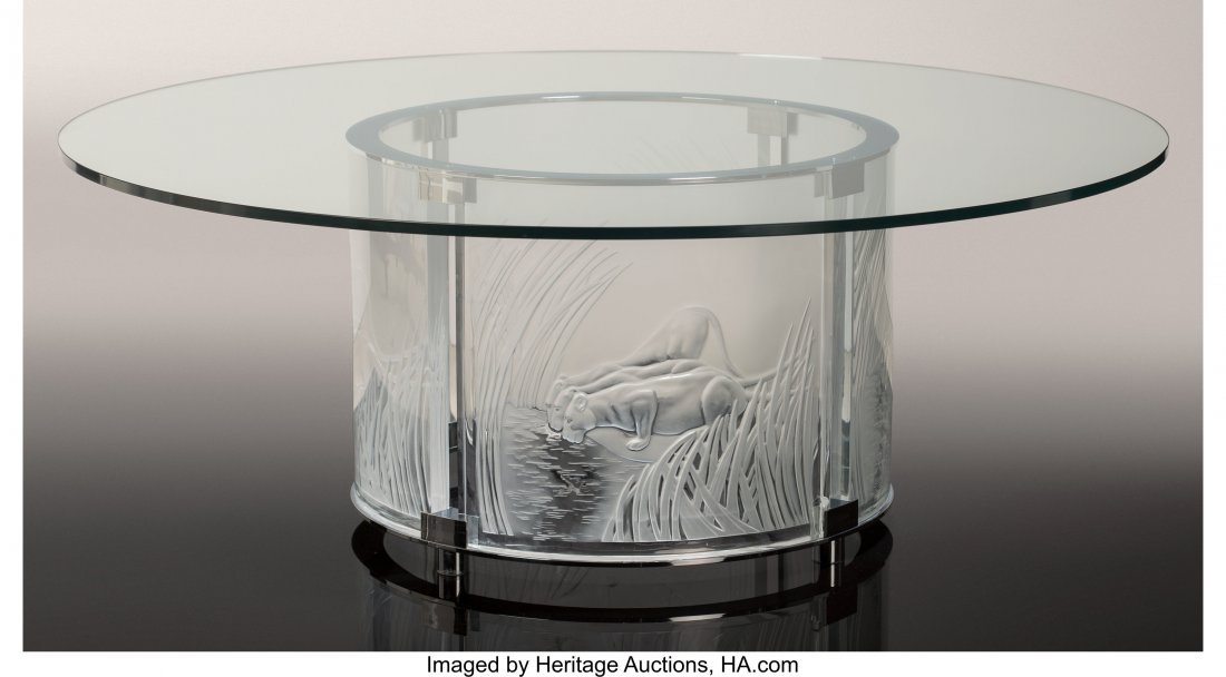 79203: Lalique Clear and Frosted Glass Trois Lionesses - 2