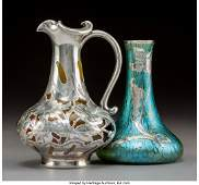 79381: Rookwood Pottery Ceramic Ewer with Silver Overla