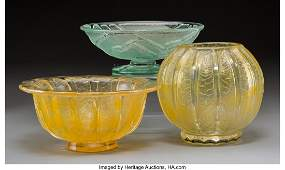 79373: Three Daum Art Deco Acid-Etched Glass Vases Circ