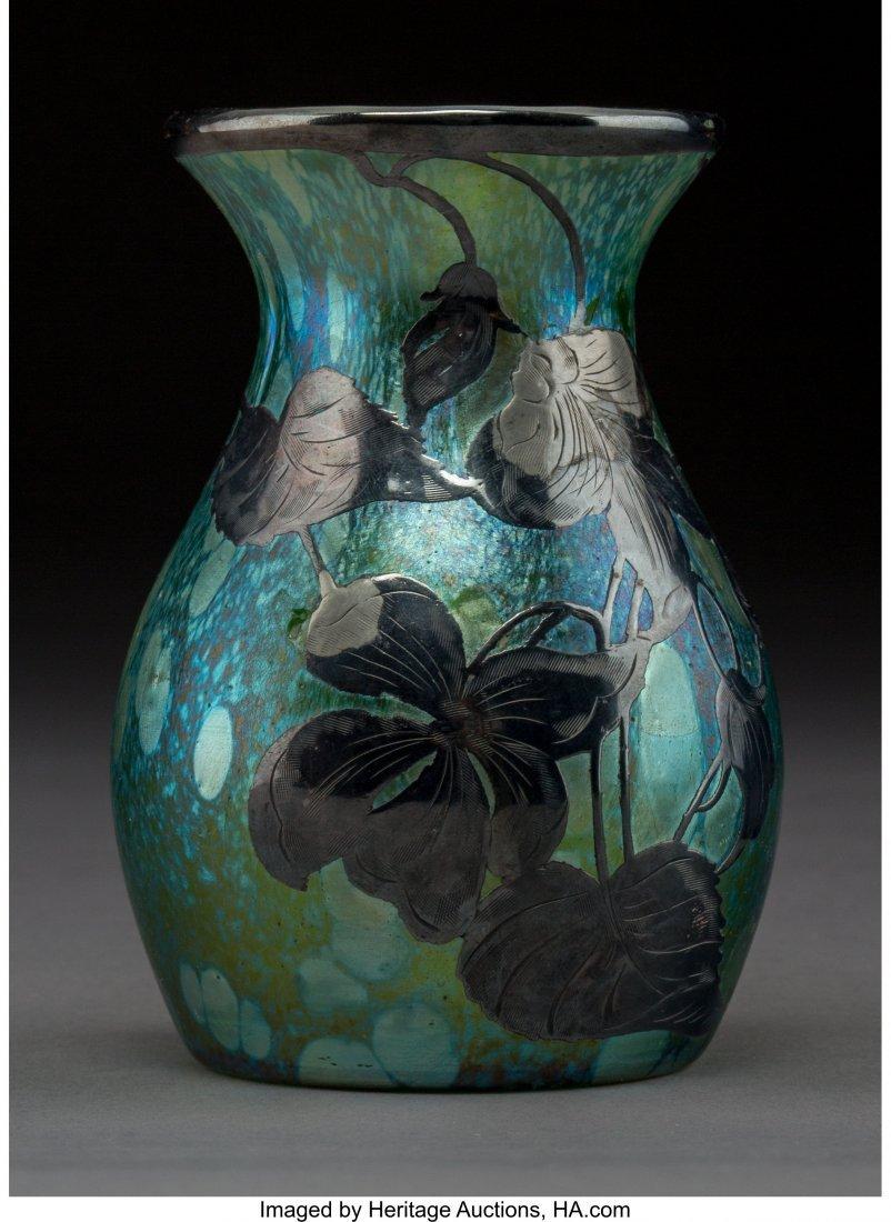 79388: Loetz Iridescent Glass Vase with Silver Overlay