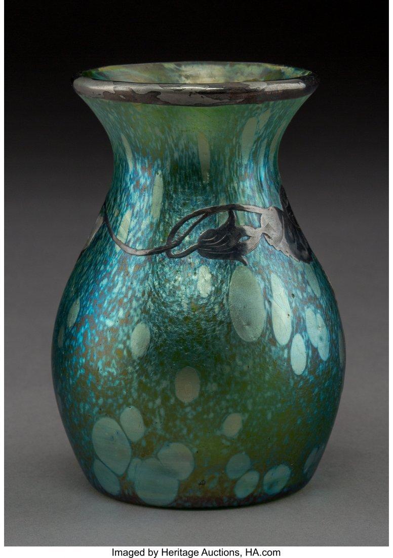 79388: Loetz Iridescent Glass Vase with Silver Overlay - 2