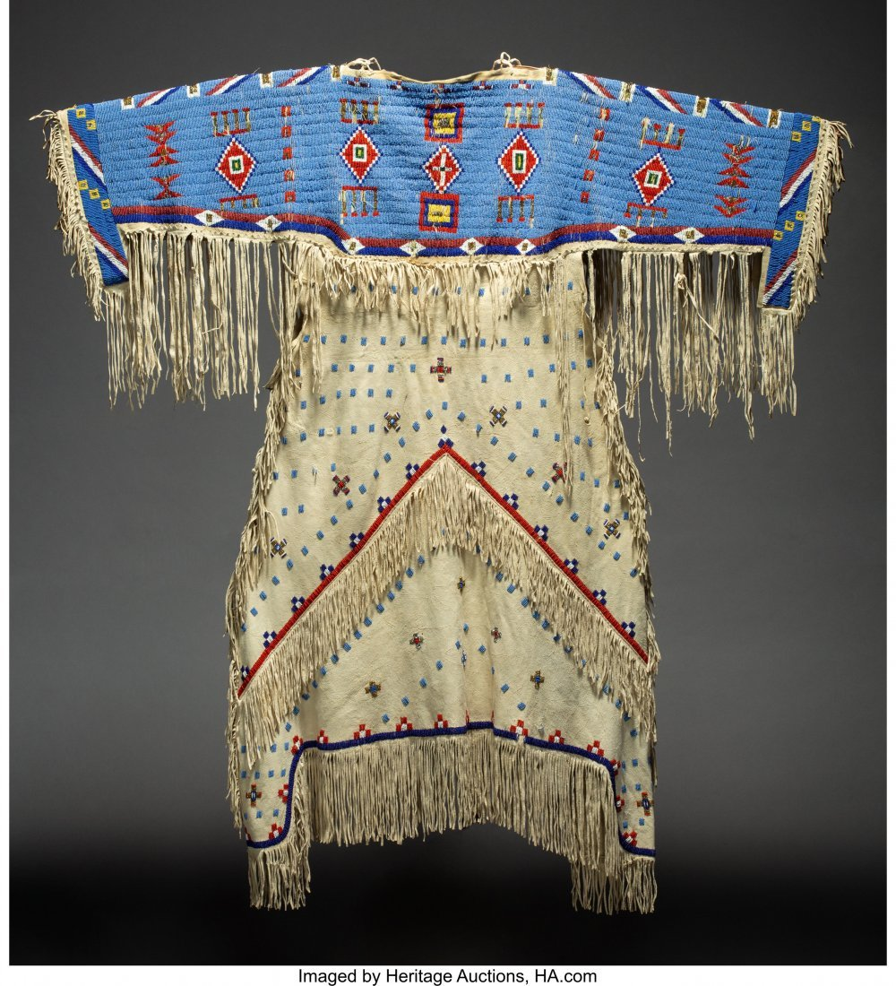 70156: A Sioux Beaded Hide Dress  c. 1920  hide, glass