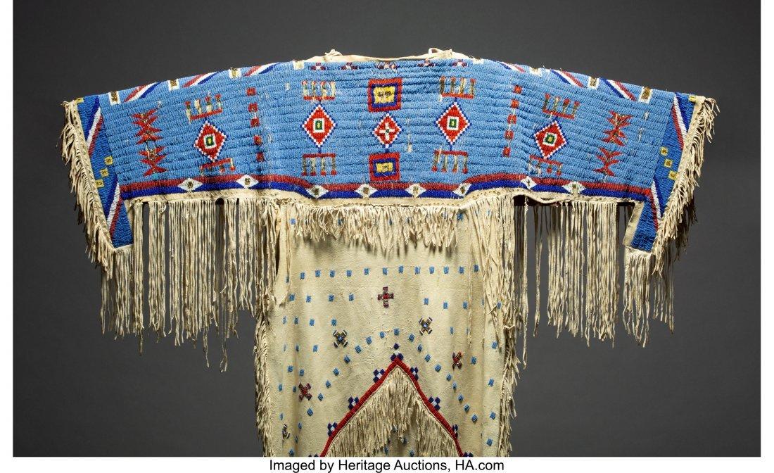 70156: A Sioux Beaded Hide Dress  c. 1920  hide, glass  - 3