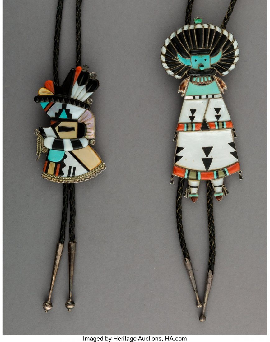 70043: Two Zuni Bolo Ties  c. 1980  silver, turquoise,