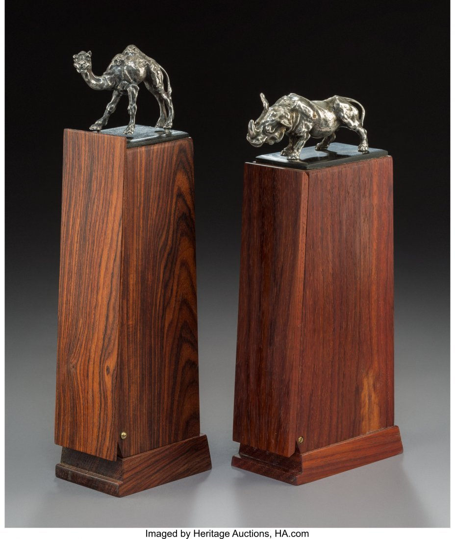 Two Rosewood Cigar Holders with Silver Rhinoceros and