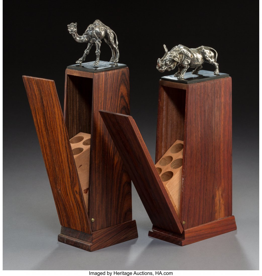 Two Rosewood Cigar Holders with Silver Rhinoceros and - 2
