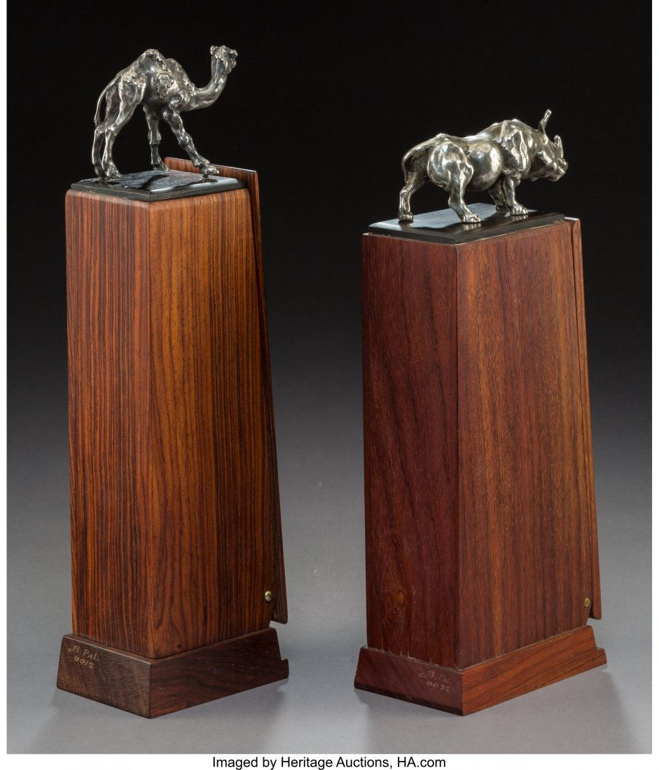 Two Rosewood Cigar Holders with Silver Rhinoceros and - 3