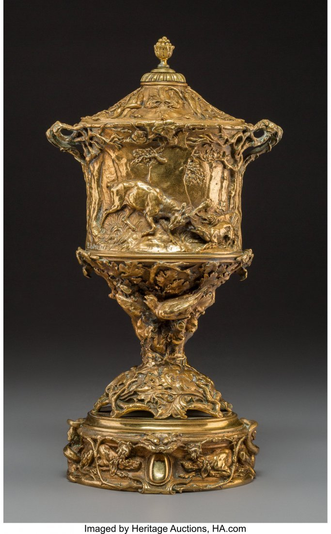 A Pierre Jules Mene Gilt Bronze Urn with Hunting