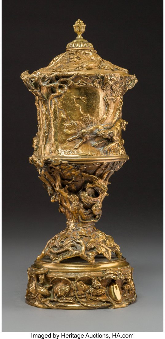A Pierre Jules Mene Gilt Bronze Urn with Hunting - 2