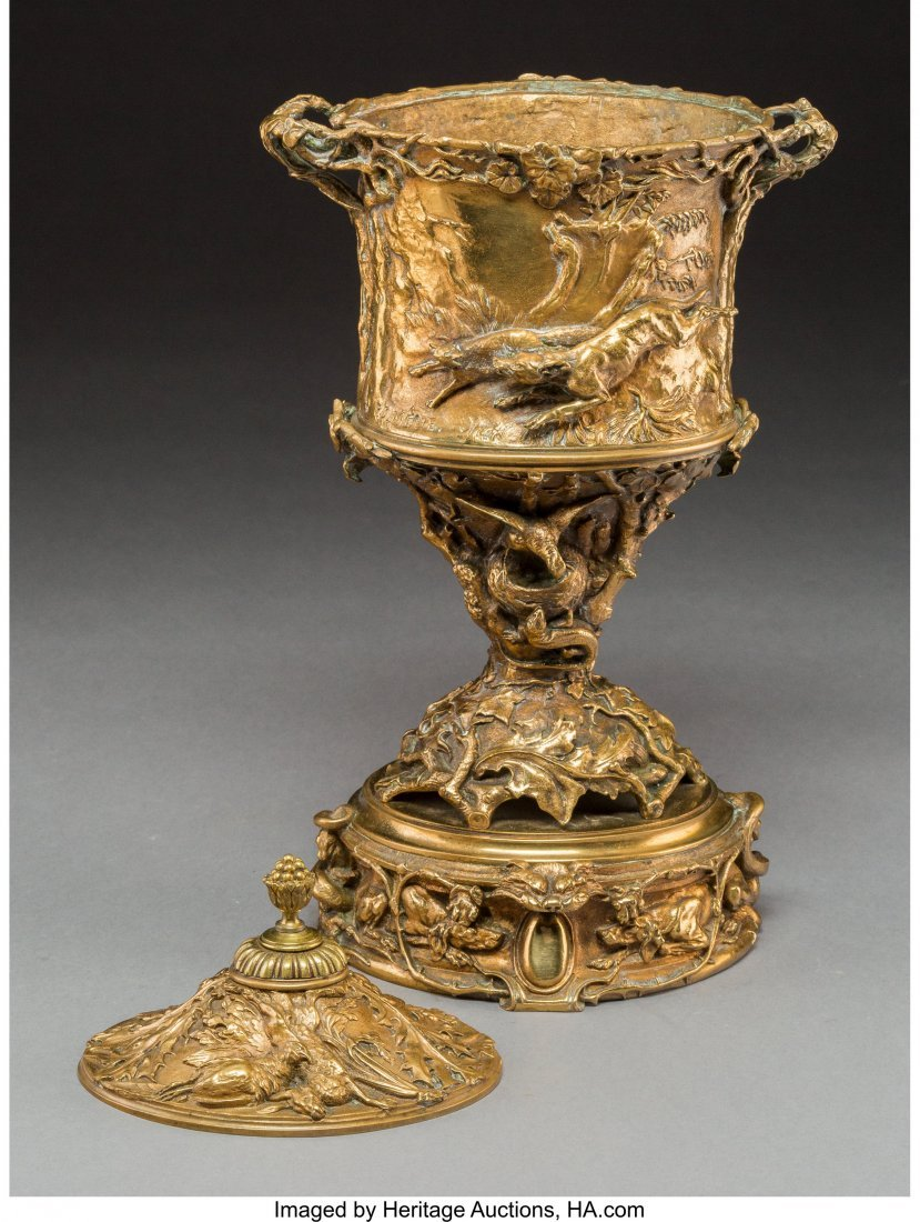 A Pierre Jules Mene Gilt Bronze Urn with Hunting - 3