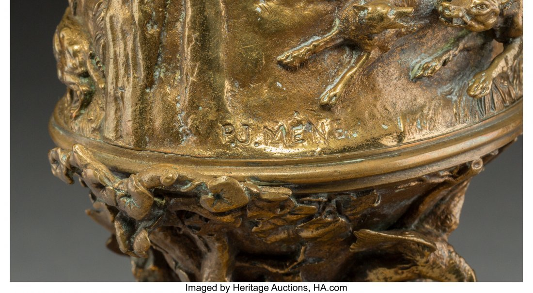 A Pierre Jules Mene Gilt Bronze Urn with Hunting - 4