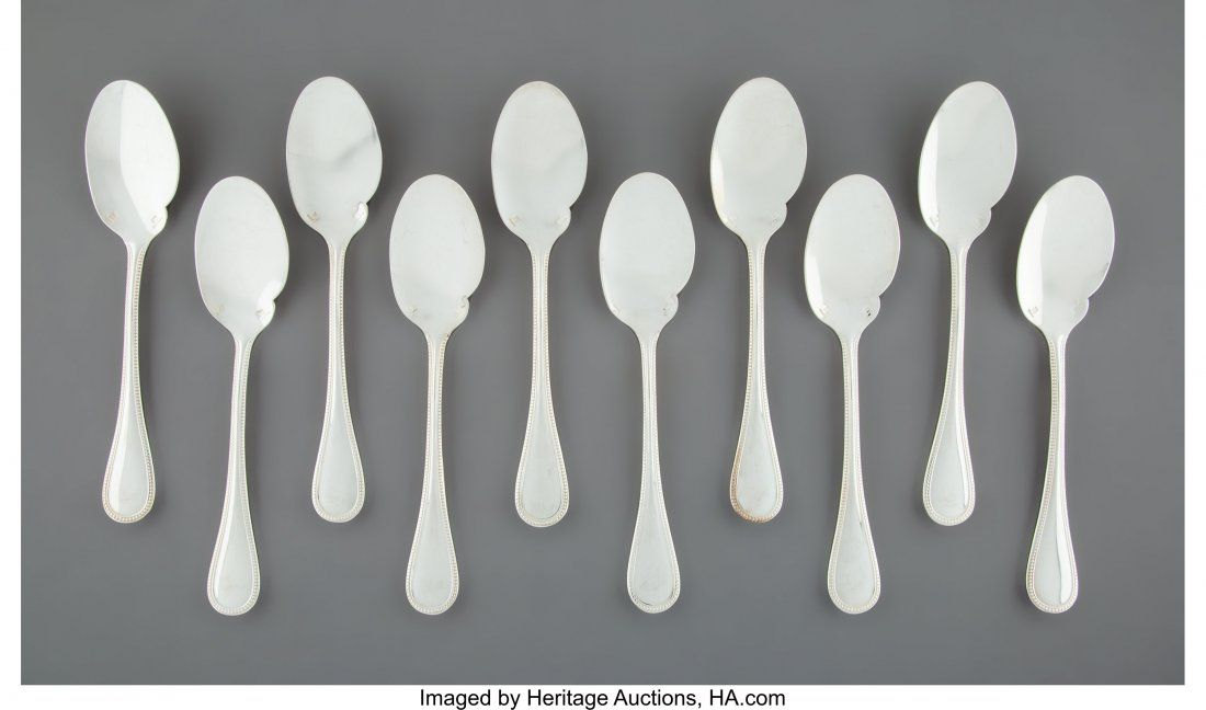 A Set of Ten Christofle Perles Pattern Silver-Plated