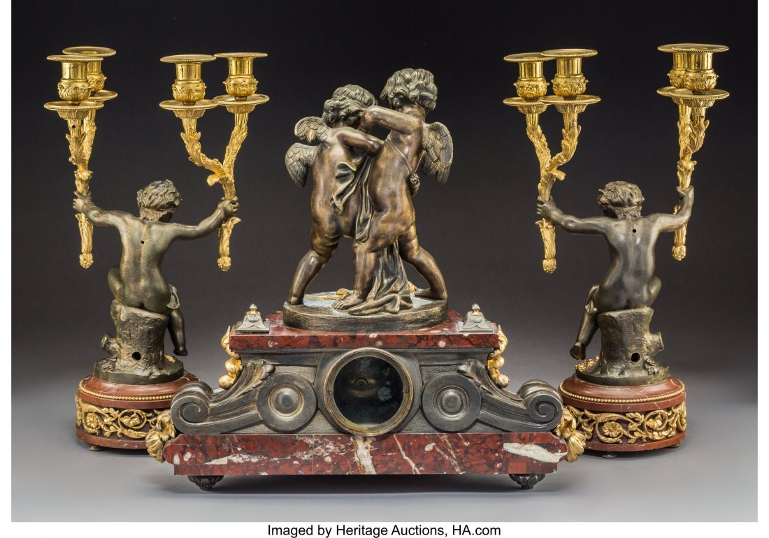 A Three-Piece French Louis XV-Style Gilt and Patinated - 2