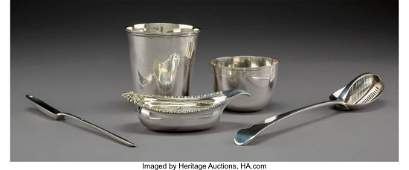 A Paul Storr Partial Gilt Silver Pap Boat with Four