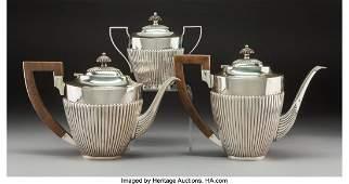A ThreePiece Portuguese Silver Tea and Coffee Service