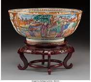 A Chinese Export Famille Rose Mandarin Porcelain Punch