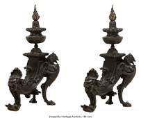 A Pair of Renaissance Revival Patinated Bronze Figural