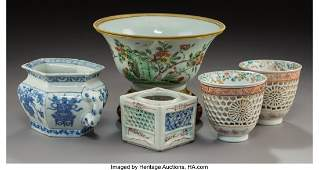Five Various Chinese Export Porcelain Table Items Qing