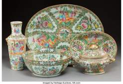 61636 Five Chinese Export Rose Medallion Porcelain Tab