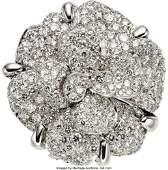 58099 Chanel Diamond  18K White Gold Camellia Flower
