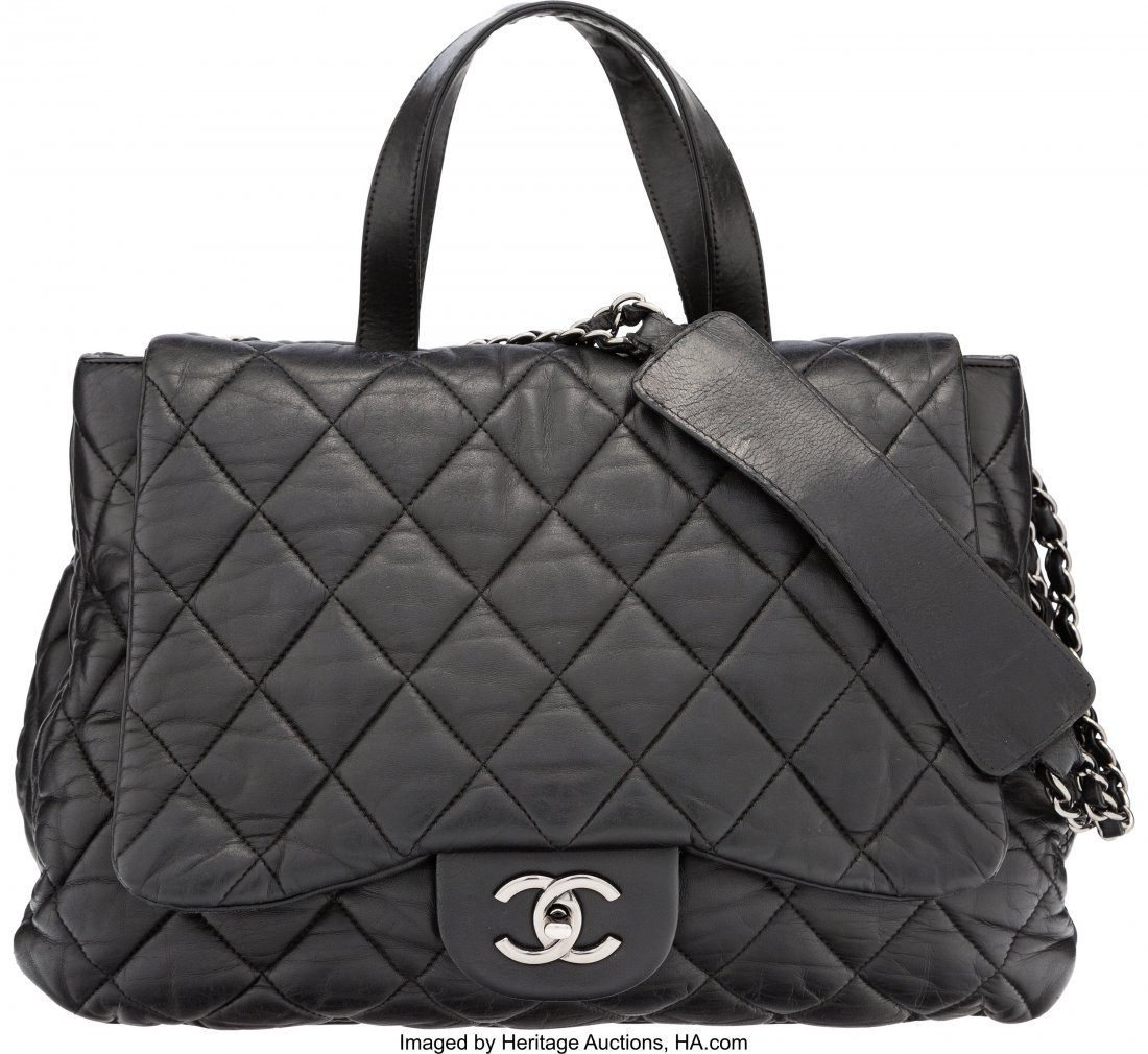 58111: Chanel Black Quilted Lambskin Leather Double-Sid