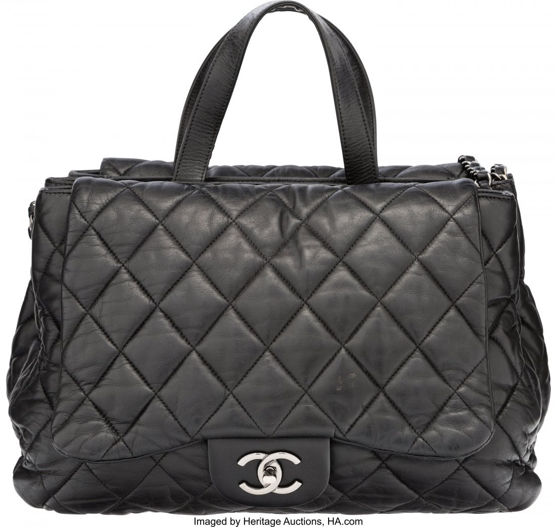 58111: Chanel Black Quilted Lambskin Leather Double-Sid - 2