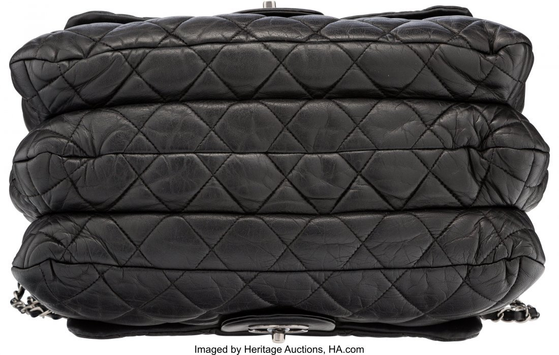 58111: Chanel Black Quilted Lambskin Leather Double-Sid - 3