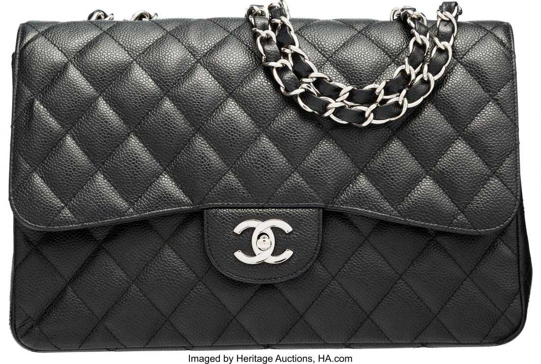 11b48845dd8e 58121: Chanel Black Quilted Caviar Leather Jumbo Single