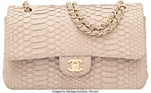 6d7f086f0dd5 58067: Chanel Light Gray Python Medium Double Flap Bag