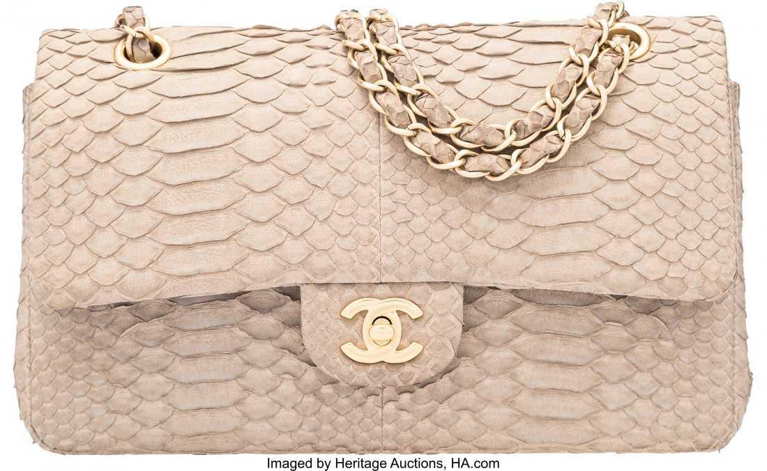 b327f9ac6670 58067: Chanel Light Gray Python Medium Double Flap Bag
