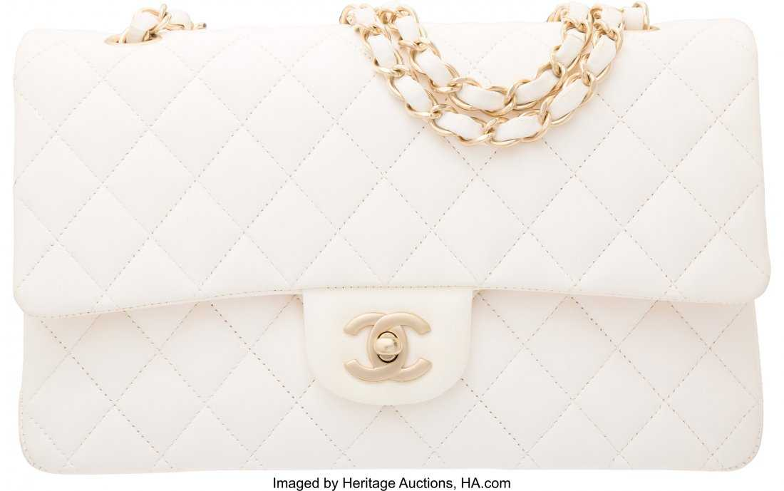 cd7e5aba45d1 58095: Chanel White Quilted Lambskin Leather Medium Cla