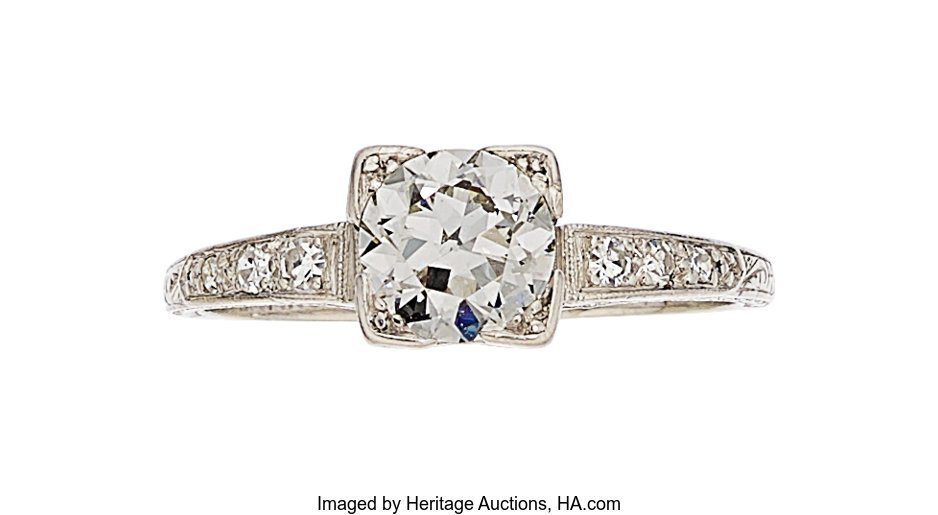 55291: Art Deco Diamond, Platinum Ring  The ring featur