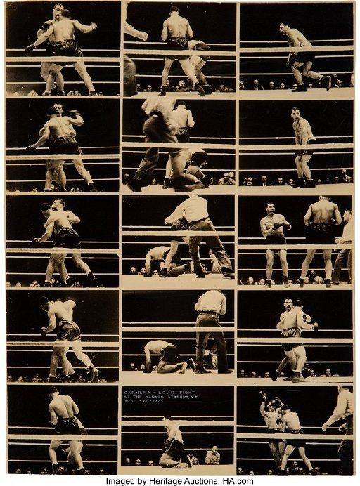 47243: Carnera-Louis Fight Photo Contact Sheet and Broa