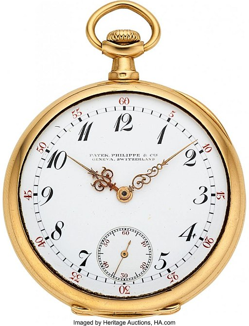 7d4d8bc75 54115: Patek Philippe Very Fine 18k Gold Pocket Watch - Jan 22, 2019 ...