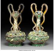 61274 A Pair of French Palissy Ware TwoHandled Vases